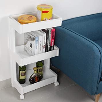 3 Lays Portable Multifunctional Removable Storage Box Shelf with Wheels Fit for Kitchen Bathroom Bedroom Livingroom White Home and Office Storage Organizer