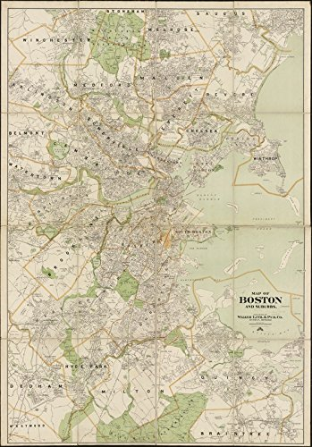 Amazon.com: Historic Map | 1909 Map of Boston and suburbs | Antique ...