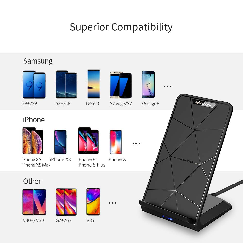 Nillkin Fast Qi Charge Wireless Charger Stand up 80% Conversion 10W Compatible Samsung Galaxy S9/S9 Plus/S8/S8 Plus, 5W Compatible iPhone X/9/8 Wireless Charging