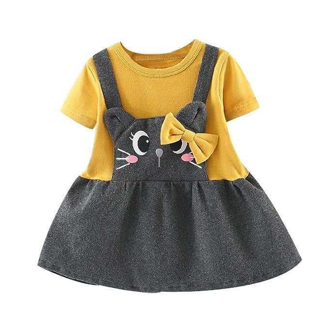 e57d3b4f2dddc Lisin Toddler Kids Baby Girls Cute Cat Bow Patchwork Dress Princess ...