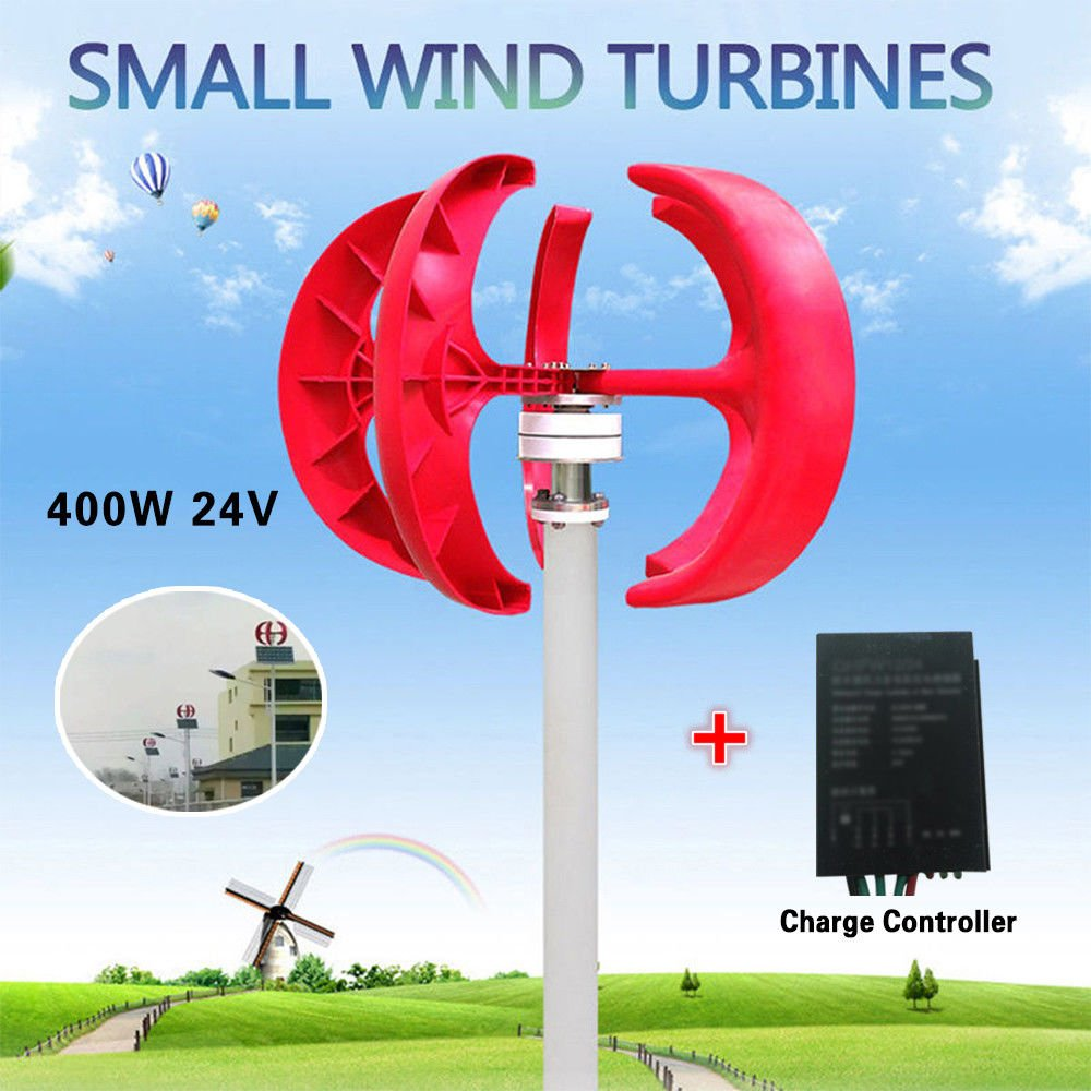 400w Wind Turbine Generator Red Lantern Shape 5 Blades Wiring Diagram Diagrams 3 Phase Kit With Controller 24v Garden Outdoors