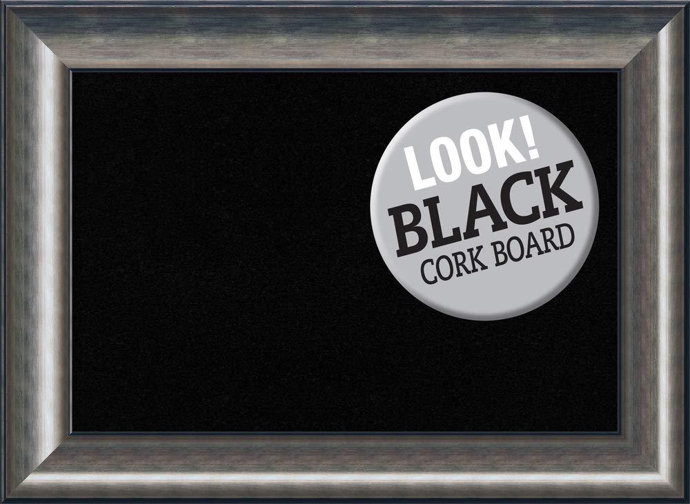 Amanti Art Outer Size 30 x 22 Framed Black Cork Board Medium, Quicksilver Scoop