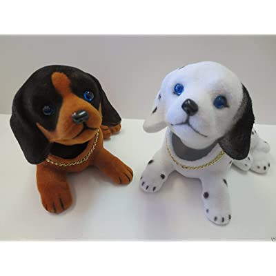 Lot of two Puppy Dog/Beagle Dog/Bobbing/Bobble Head Doll/Toy with Car Dashboard Adhesive: Home Improvement