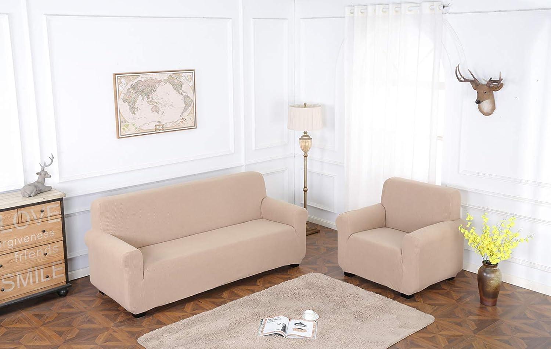 TIANSHU Funda de sillón,Material Jacquard poliéster y Elastano Fundas de sofá Suaves Resistentes(Funda de sillón,Arena )