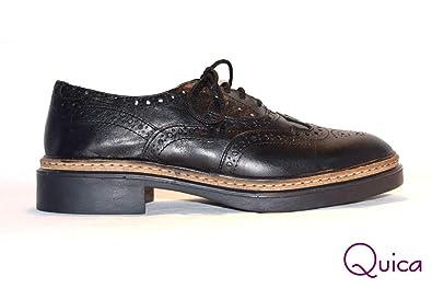 Amazon.com: Quica Zapato Acordonado Cuero Picado Mujer ...