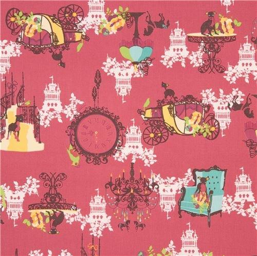 - dark pink-red Japanese canvas fabric with animals, items, Design: Kayo Horaguchi (per 0.5 yard unit)