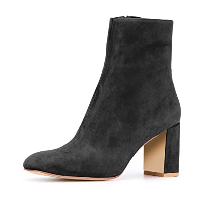 cf11412cd0c XYD Soft Suede Ankle Boots Comfortable Round Toe Block Heel Booties Zipper  Women Size 4 Black