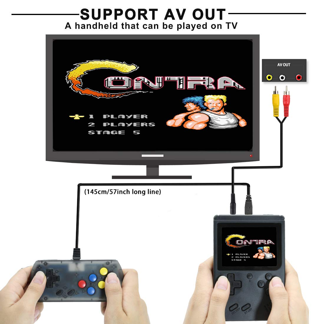 AKTOUGST Retro Handheld Game Console FC System 168 Classic Game Portable Video Game 3 Inch 2 Player Plus Extra Joystick Game Console Support on TV,Presend for Kid Adult, (Black) by AKTOUGST (Image #3)