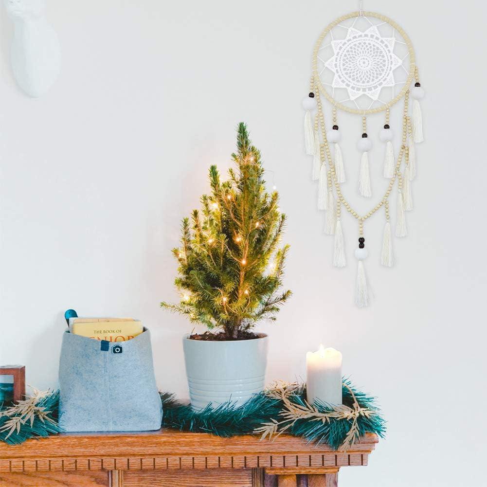 Blanc Cizen Attrape Reve Capteur de R/êves Dreamcatcher en Pompon Dentelle Plume Filet D/écoration Artisanal Cadeau Dartisanat Ornement Suspendue Cadeaux pour Femmes Enfant
