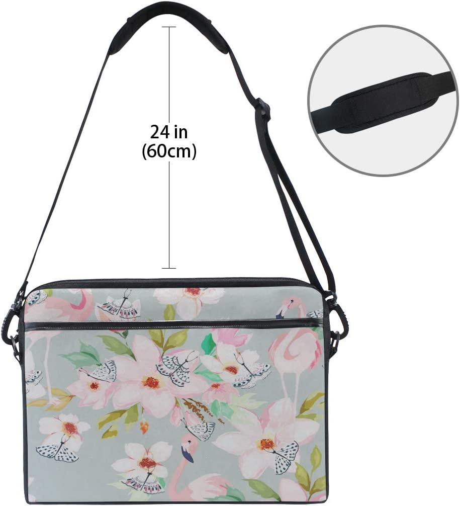 College Students Business People Office W Briefcase Messenger Shoulder Bag for Men Women Laptop Bag Summer Floral Flamingo 15-15.4 Inch Laptop Case