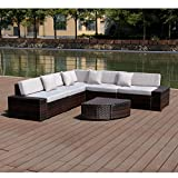 Esright 6 Pieces Patio Wicker Sofa PE Rattan Outdoor Sectional Patio Furniture Sets (Brown Rattan & Grey Pillows)