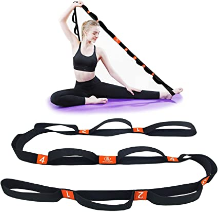 5BILLION Yoga Stretching Strap Cotton Exercise Band with Multiple Grip Loops for Hot Yoga, Physical Therapy, Greater Flexibility & Fitness Workout, ...