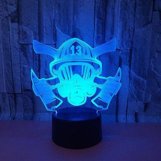 3D Luz Nocturna,Máscara De Fuego, Lámparas De Mesa Regalos ...