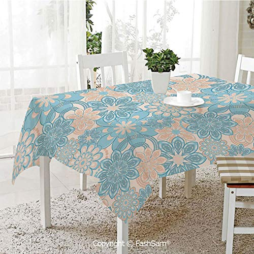 (AmaUncle 3D Dinner Print Tablecloths Gentle Spring Inspired Flourish Motifs Feminine Bouquet Decorative Table Protectors for Family Dinners (W55)