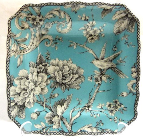 Toile Porcelain Plate (222 Fifth Adelaide Turquoise Salad Plates, Set of 4, Square)