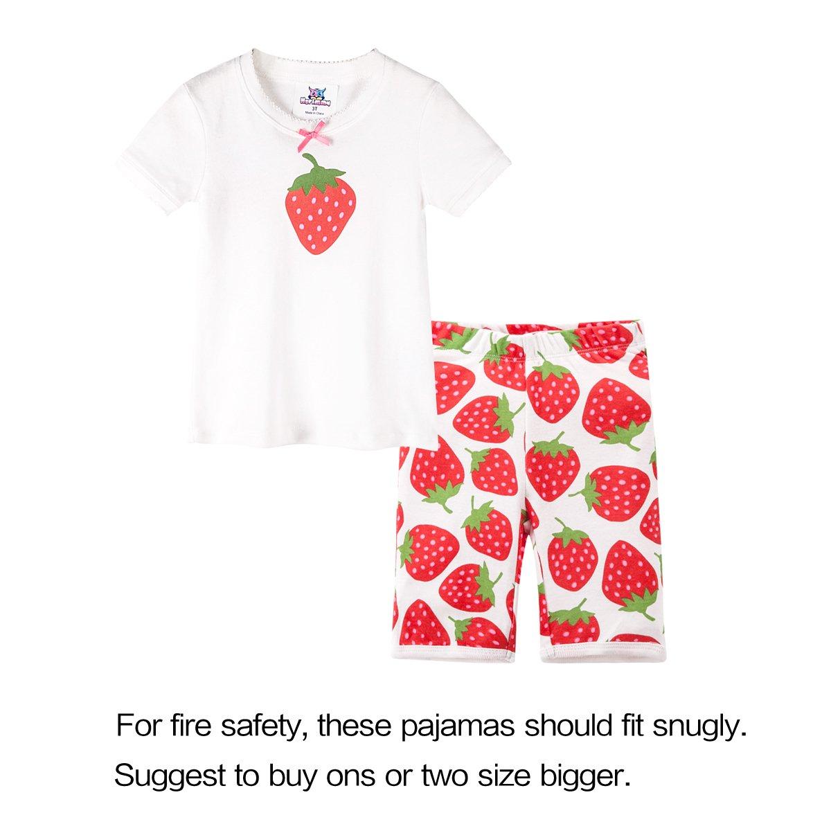 Jobakids Little Girls Summer Cotton Clothing Short Set,Strawberry,8T