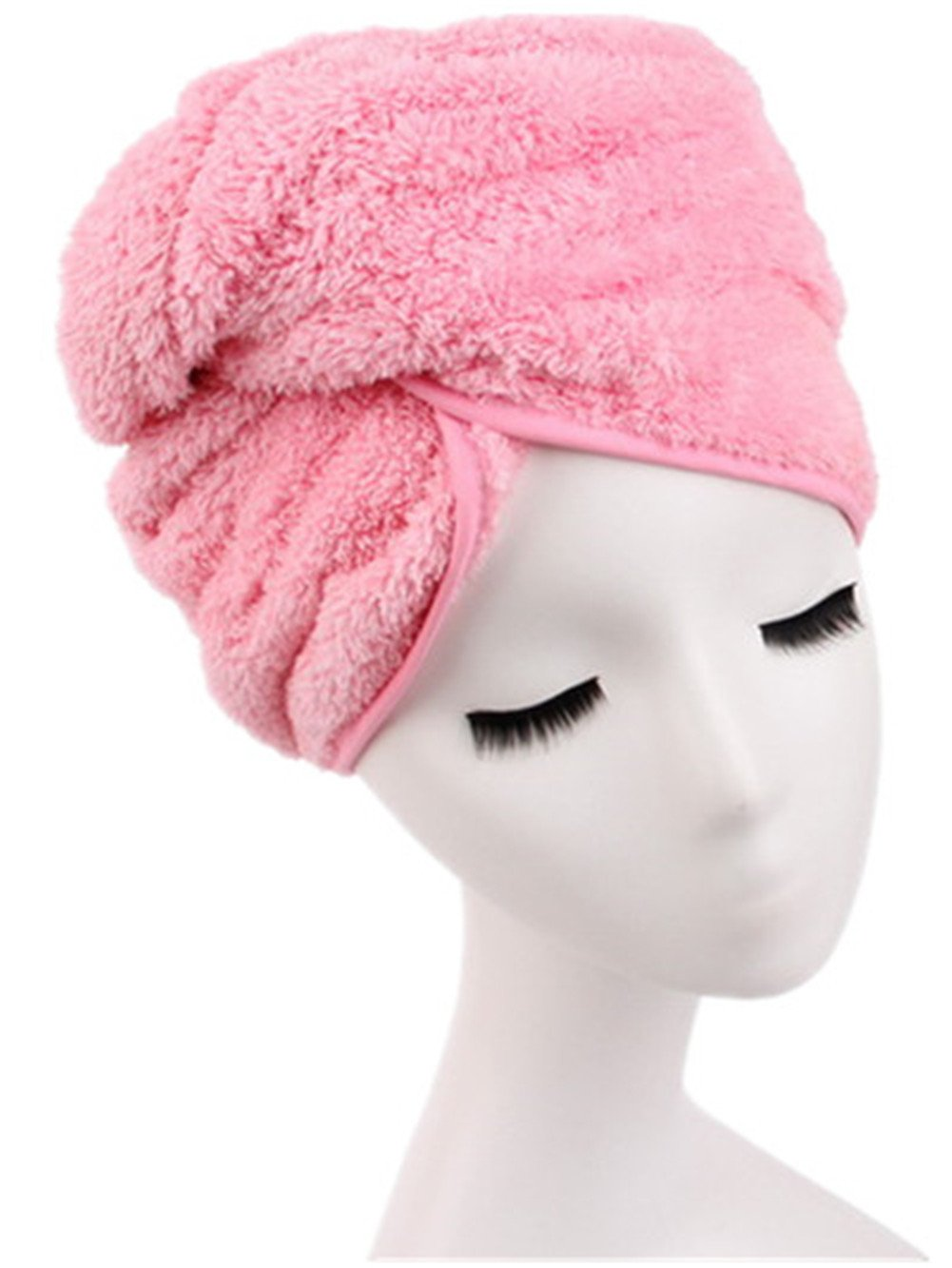 Moolecole Fashion Absorbent Microfiber Hair Dry Towel Thickened Shower Cap Hair Turban Quick Dry Hat Cap Blue