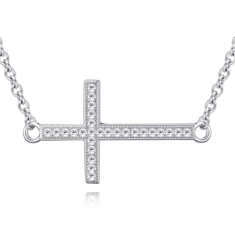 Ashley Jeweller Rhodium Plated Sterling Silver Cubic Zirconia Sideways Cross Pendant Necklace 18