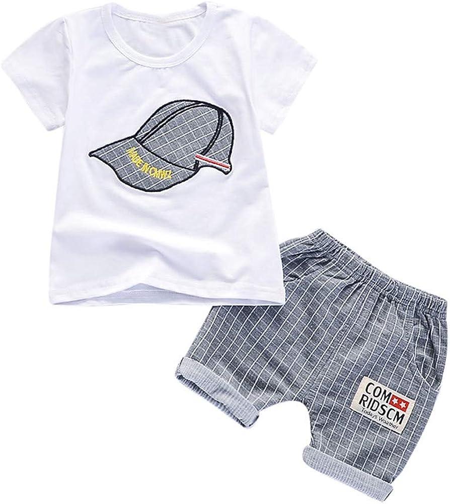 FELZ Ropa Bebe Niño Verano 2019 Recién Nacido 6 Meses a 3 años Camiseta de Manga Corta con Estampado de Verano Top+Pantalones Cortos a Cuadros+Gorra Conjunto de ropa/3pc Regalo Original Niño