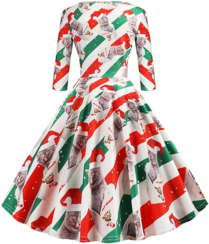 ZODOF ropa navideña mujer Media manga Navidad Vintage Ama de casa ...