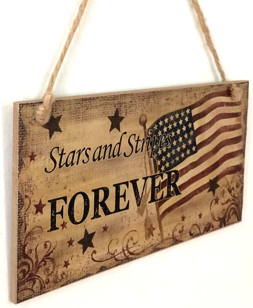 D Yliquor Hanging Plaque American Flag Wood Wall Hanging Fourth of July Decor Sign God Bless America for Garden Indoor Outdoor Decor