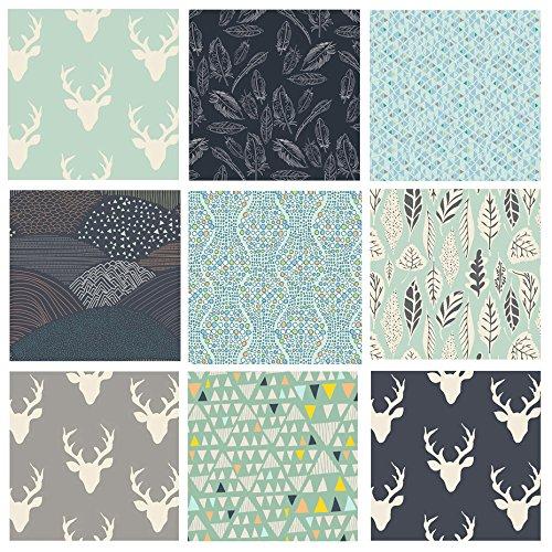 Bonnie Blue Fabrics - Hello Bear Fabrics | Boys Room Quilt Fabrics | Masculine | Deer Head with Antlers | Navy Mint Gray | Bonnie Christine | 9 Fabric Bundle | Art Gallery Fabrics | Fat Quarters