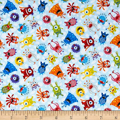 Fabri-Quilt Paintbrush Studios Launch Party Monsters Blue, Fabric by the Yard