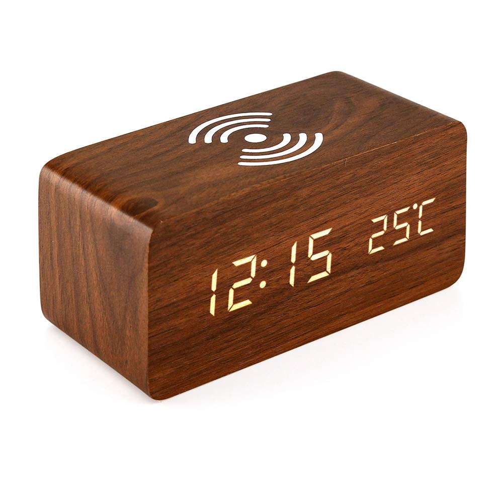 Oct17 Wooden Alarm Clock with Qi Wireless Charging Pad for iPhone Samsung, Wood LED Digital Clock with Sound Control Function, Time Date, Temperature Display for Bedroom Office Home - Brown
