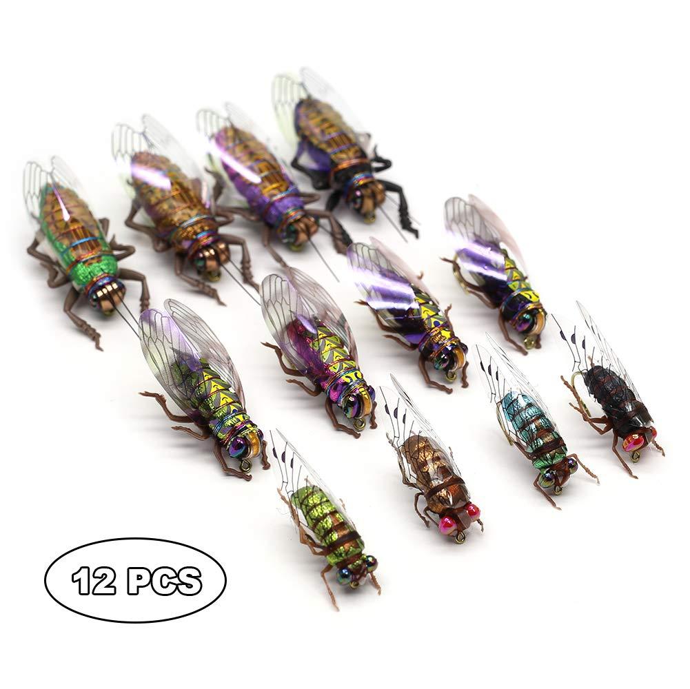 YZD Fly Fishing Flies Realistic Dry Wet Nymph Trout Flies Hand Tie Lures Kits 12/26/48 Pcs (4-Cicada kit 12pcs)