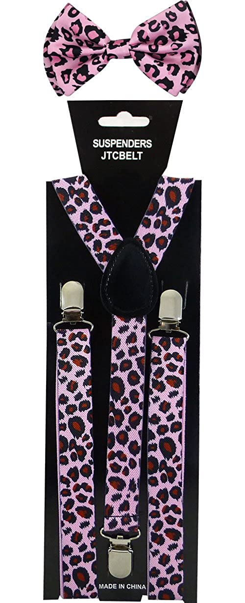 Many Colors Available Nice Shades Combo Pack Suspenders /& Bow Ties Pink Leopard
