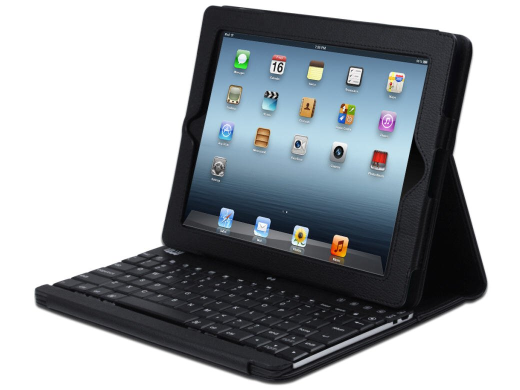 Adesso Compagno3 Bluetooth Scissor-Switch Keyboard with Carrying Case for iPad 2 and iPad 3 (WKB-1000DB)