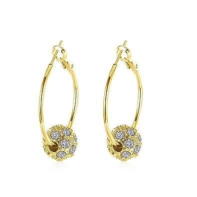 88bc66192afe6 BODYA Hypoallergenic Pierced Large huggie Hoop Earrings beads with cz  crystal Rhinestone balls rose / yellow