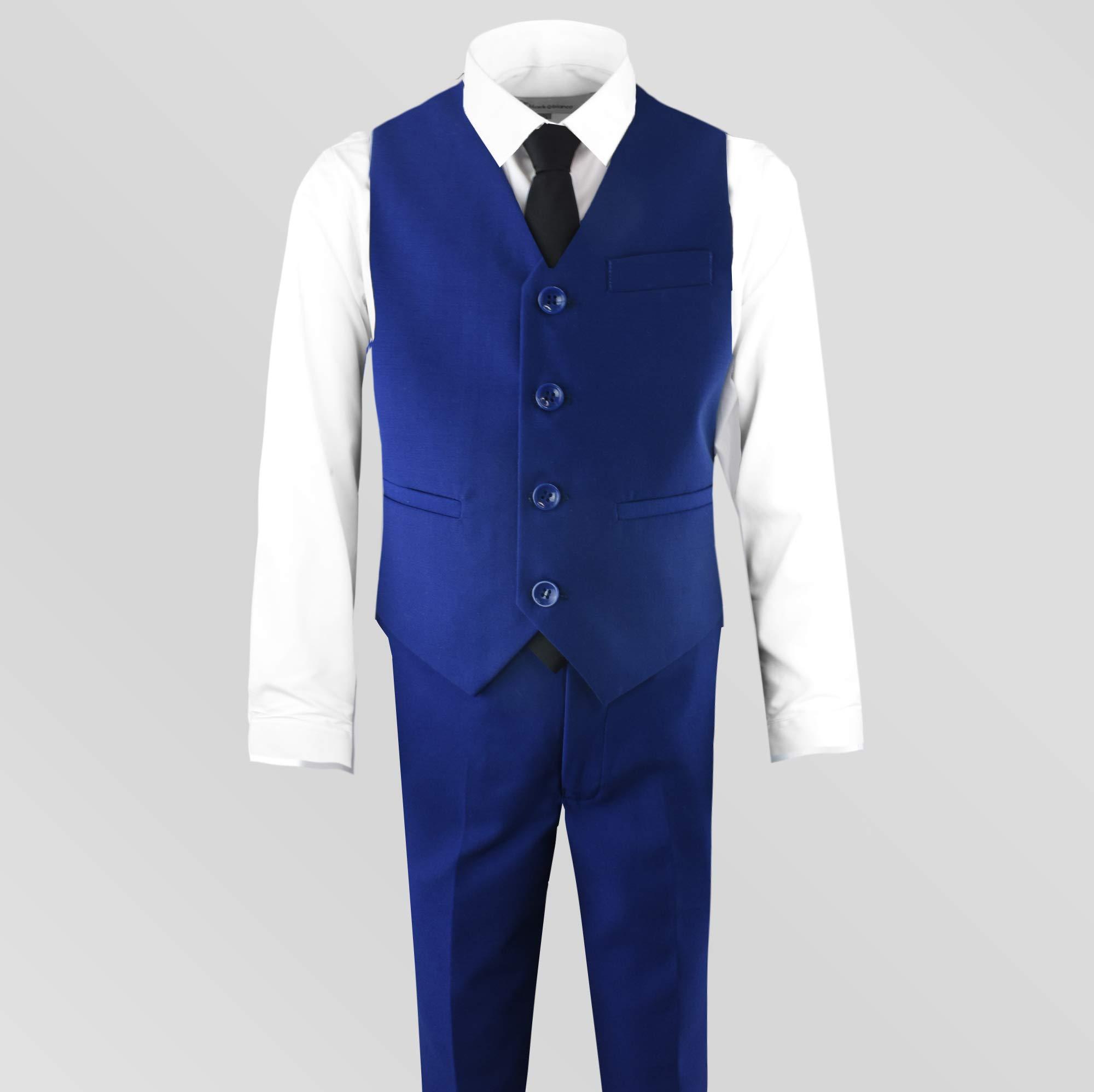 Black n Bianco Signature Boys' Slim Fit Suit Complete Outfit (7, Blue) by Black n Bianco (Image #6)