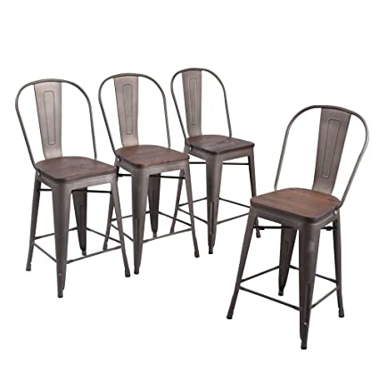 Cool Andeworld Set Of 4 Tolix Style Counter Height Bar Stool Chairs Industrial Metal Bar Stools Indoor Outdoor High Back Rusty Wooden 24 Inch Gmtry Best Dining Table And Chair Ideas Images Gmtryco