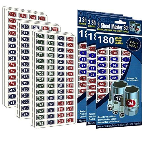 """3 Pack (Blue) - Mechanics Master Set """"Economy Edition"""" chrome foil label sets for Socket Sets 1/4"""