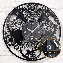 Steampunk Clock - Owl Vinyl Clock - Steampunk Owl - Industrial Wall Clock - Steampunk Gears Decor Retro Wall Gothic Grandfather Vinyl Gift Victorian Wall Decal Steampunk Novelty Owl Vinyl Clock Black