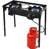 Giantex 2 Burner Outdoor Camping Stove High Pressure Burner Stand 150,000 BTU with 0-20 PSI Adjustable Regulator Outdoor Camping Picnic Stove, Black
