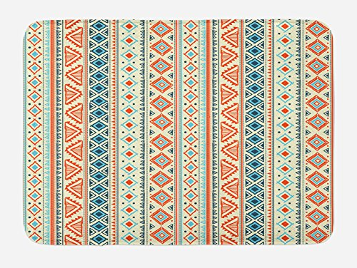 Ambesonne Tribal Bath Mat, Mexican Style Aztec Patterned Retro Hand Drawn Design Abstract, Plush Bathroom Decor Mat with Non Slip Backing, 29.5 W X 17.5 W Inches, Blue Orange Ivory by Ambesonne