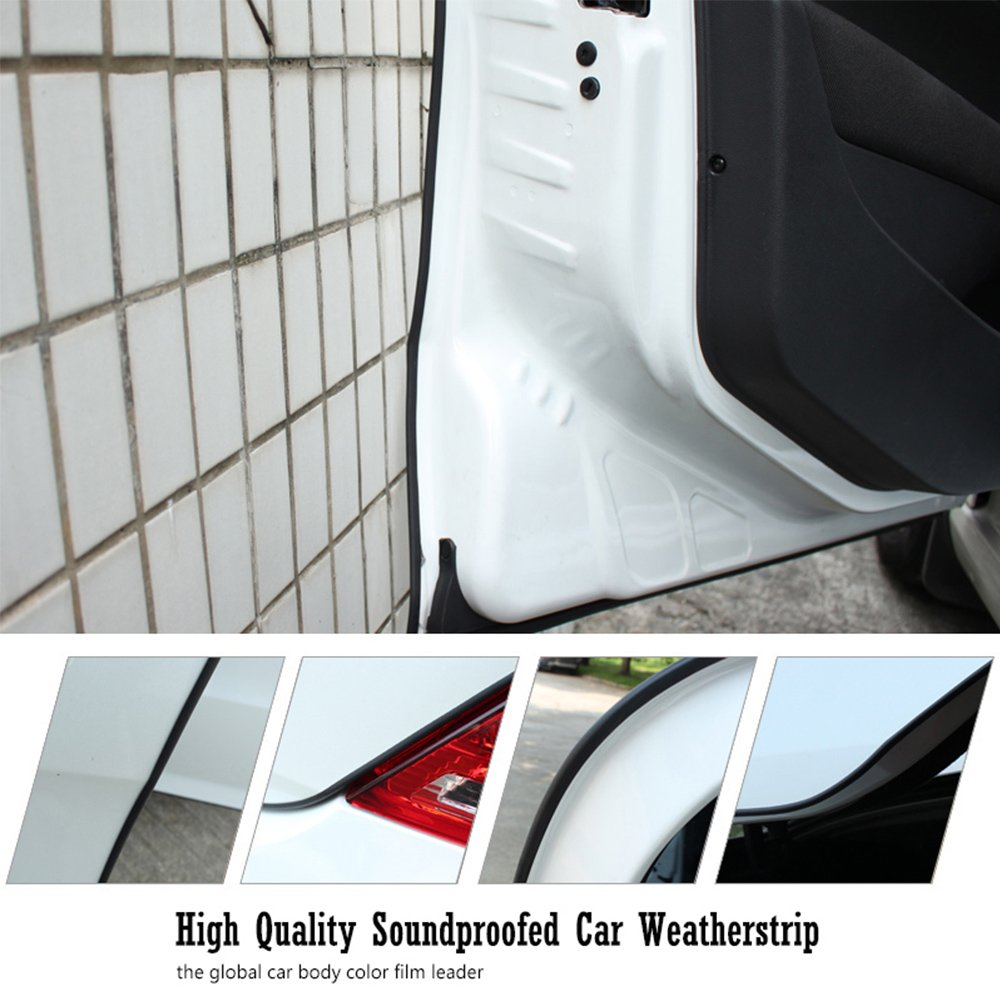 Welcomefee Car Door Window Seal Strip 4M D-type Self Adhesive Rubber Weatherstrip for Car Vehicle Truck 14mm x 12mm