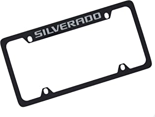 product image for Chevrolet Silverado Black Coated Metal Top Engraved License Plate Frame Holder