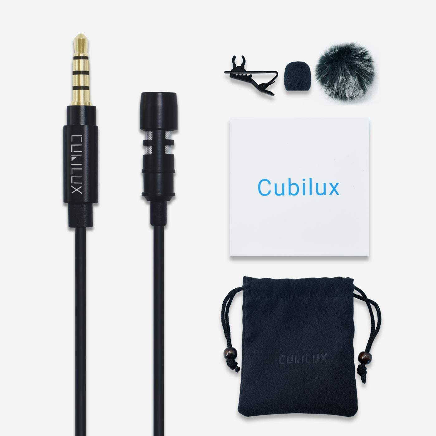 5ft with Clear Voice for Recording//Interviewing//Youtuber//Vlogger Android Smartphone Samsung S10 Cubilux 3.5mm Clip-on Omnidirectional MIC Compatible for iPhone iPad MacBook Lavalier Lapel Microphone