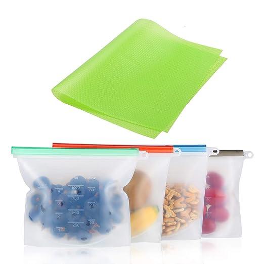 Bolsas de silicona reutilizables para almacenamiento de alimentos, libre de BPA, bolsas de vapor para el congelador, para guardar comida y comida seca ...