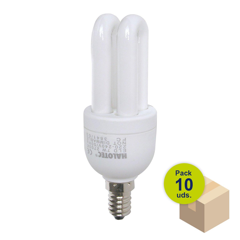 HALOTEC Pack 10 Bombillas Bajo consumo ELD con rosca fina casquillo E14 230V 7W 2700K luz calida KOALA COMPONENTS