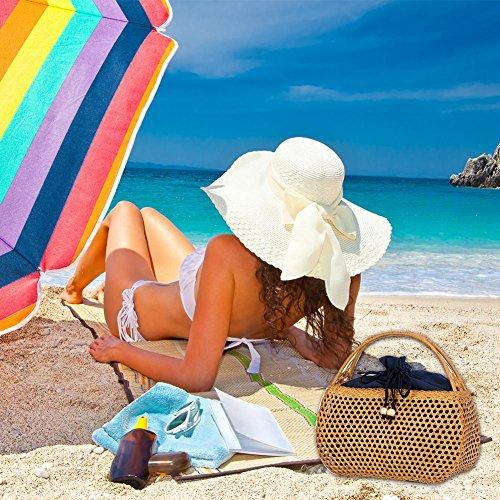 A Mano Rattan Stoccaggio Corsa Commerciale Signora Di Cava Borsa Spiaggia Elegante Paglia Retrò Intrecciato Vacanze Estive RTwnf5x