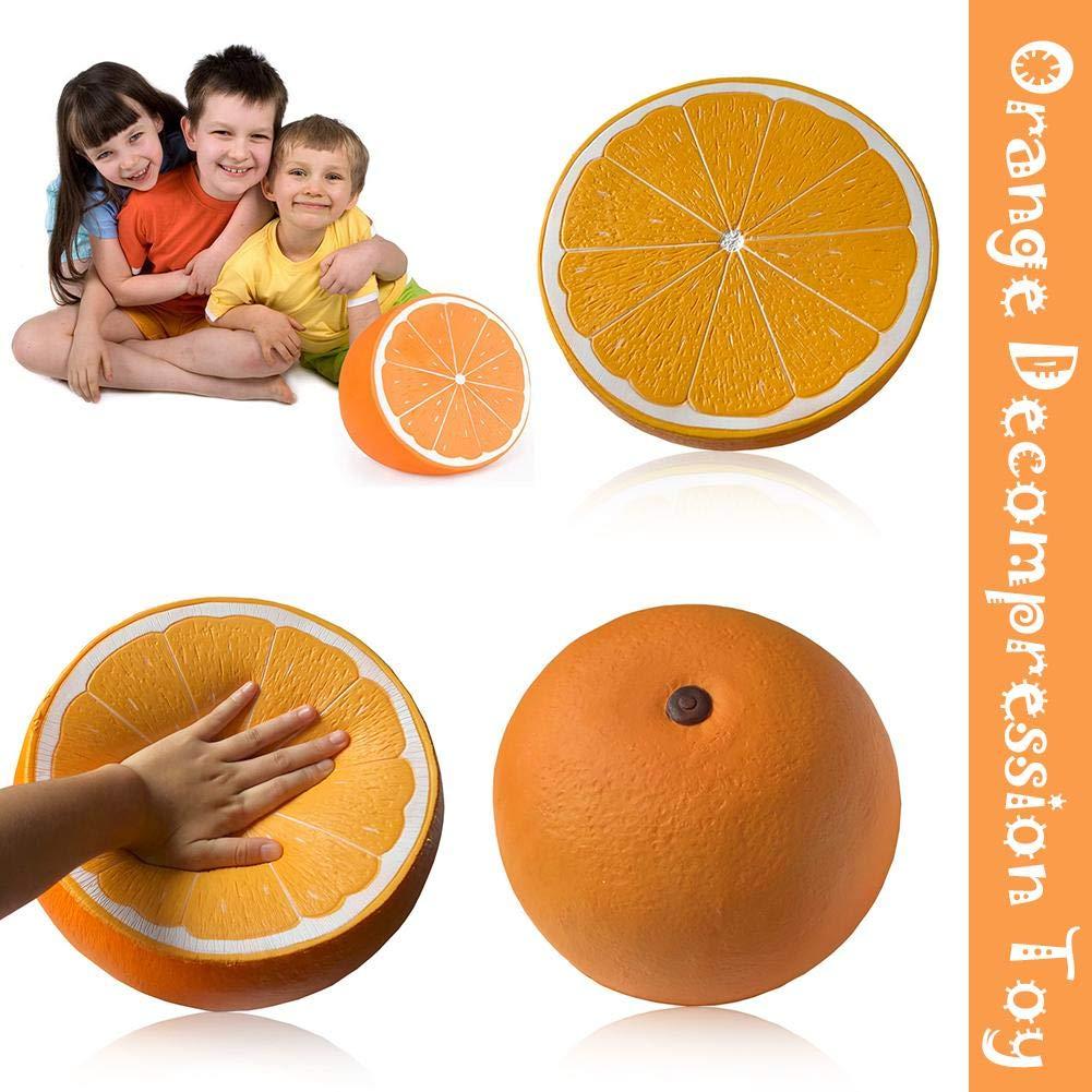 heling896 Juguetes Naranja Forma Rebote Juguete Lento Aumento de Forma de Juguete de Fruta Super Grande Media Naranja descompresi/ón Juguete