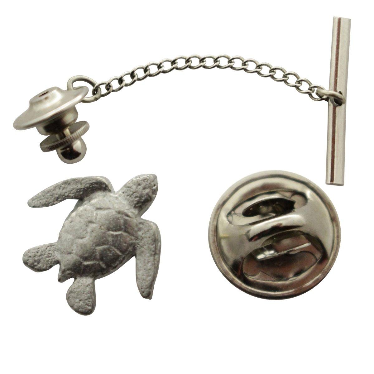 Sea Turtle Tie Tack ~ Antiqued Pewter ~ Tie Tack or Pin ~ Sarah's Treats & Treasures by Sarah's Treats & Treasures (Image #1)