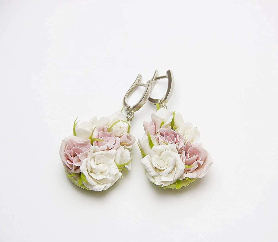 Pink White /& Rose Gold Mica highlight Diamond drop Silver Polymer Clay Earrings