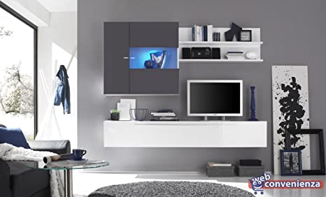 Primo 16 Antracite Parete Attrezzata Soggiorno Moderna Porta Tv ...