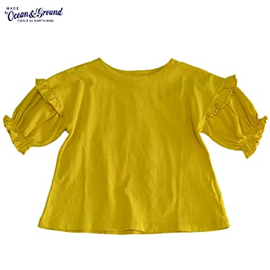 1cc8e3190c770 オーシャンアンドグラウンド フリルスリーブ Tシャツ イエロー 子供服 キッズ (100)