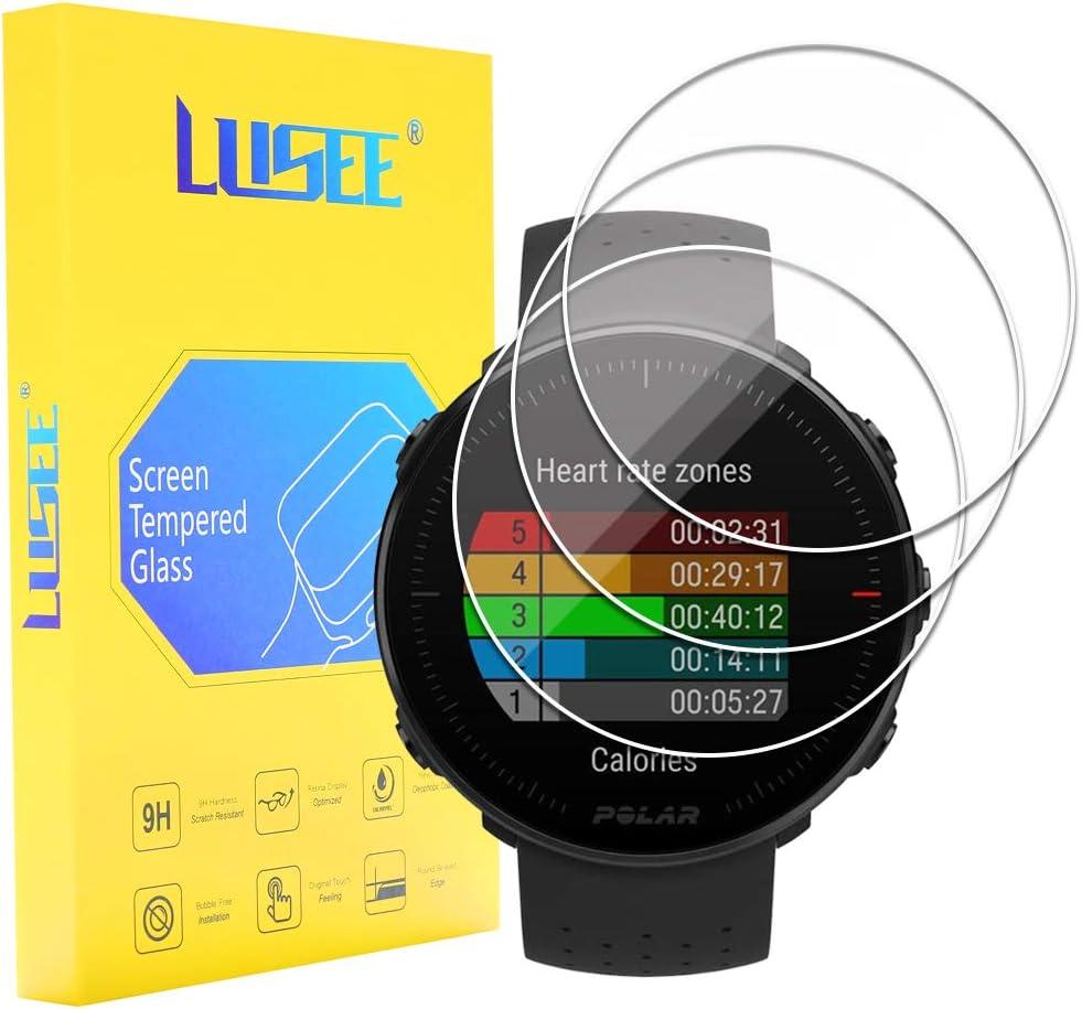 Lusee 3 Piezas Protector de Pantalla para Reloj Smartwatch (Circular, Diámetro: 35mm) Cristal Vidrio Templado [Alta Definición] [Resistente a los arañazos] [Anti-Huellas] 2.5D Protector de Pantalla